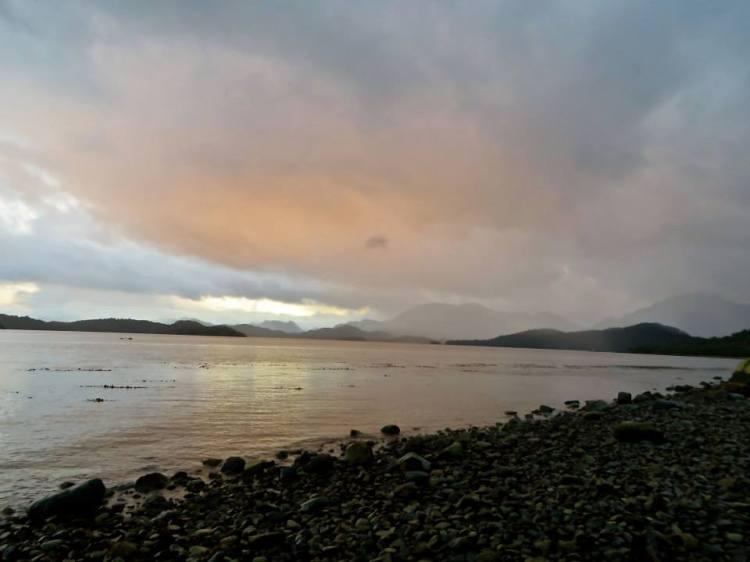 Cloudy Sunset from the shore of Isla Melchor, Achipelago de Chonos, Chile