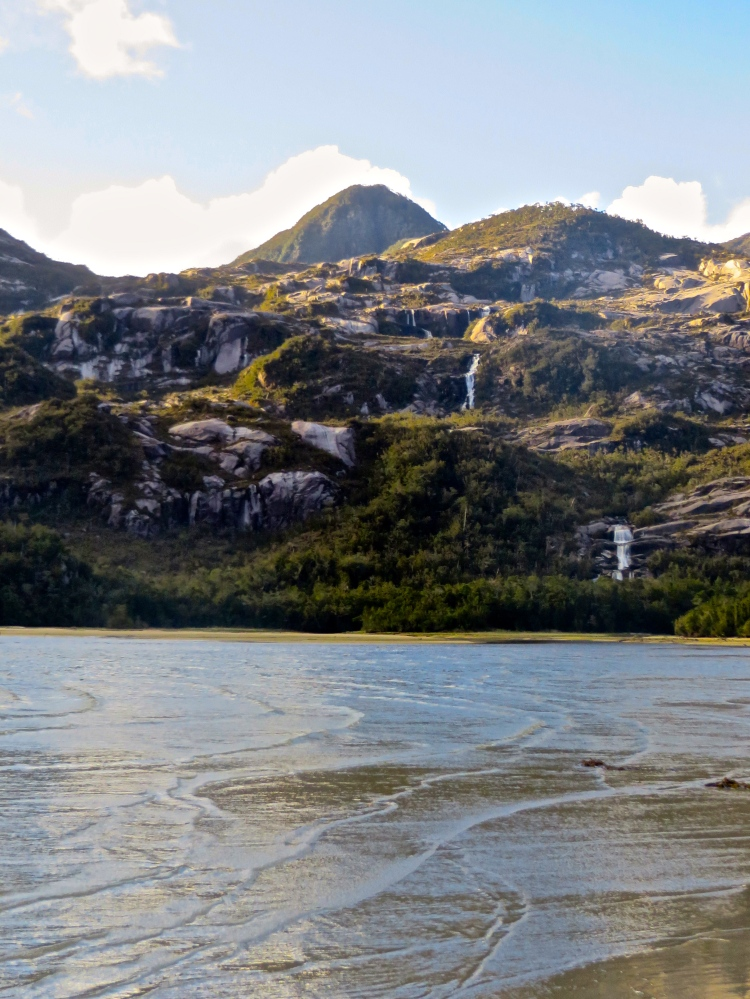 Three Tiered Waterfall. Punta Millibu, Isla Clemente, Archipelago de Chonos, Chile
