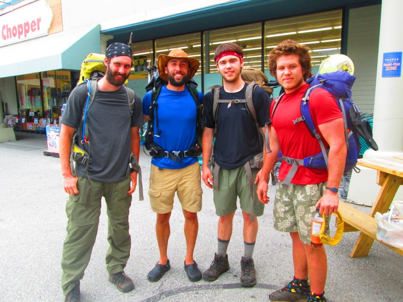 Trail friends at a resupply (Flip, Smooth, Myself, Pineapple)