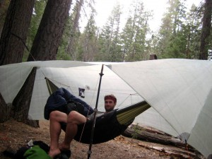 Relaxing under the tarp in 'porch' mode. Little Yosemite Valley