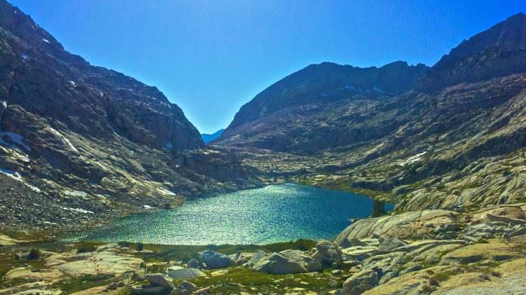 The Trail skirts a lake