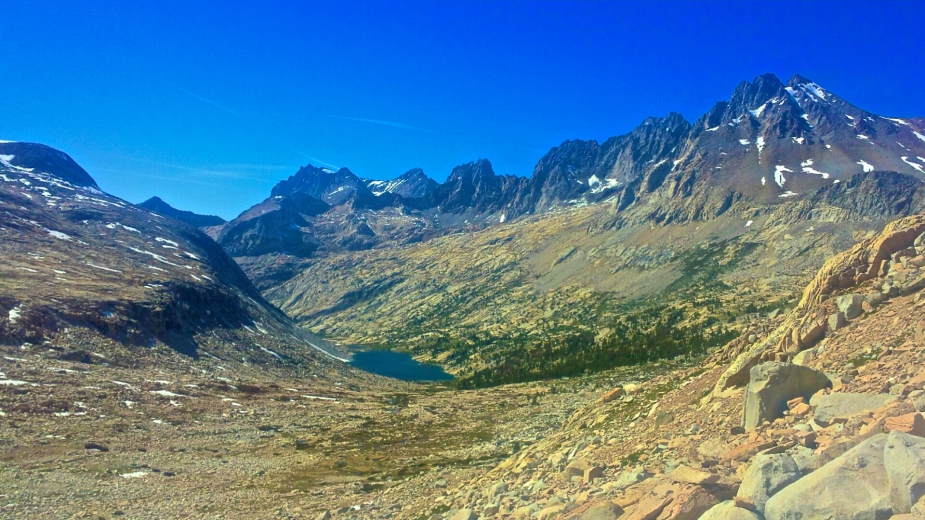Heading towards Mather Pass. Lake Majorie in distance.