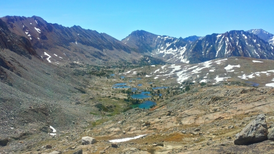 Atop Pinchot Pass looking backwards at the trail.