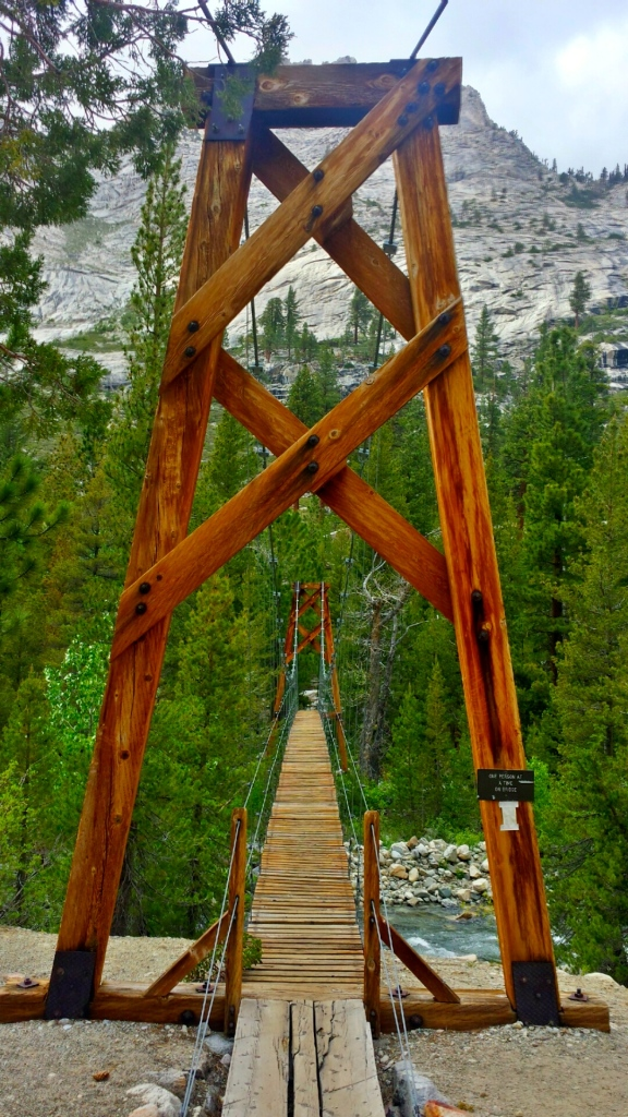 Suspension bridge in the valley before Pinchot Pass. Only one person at a time!