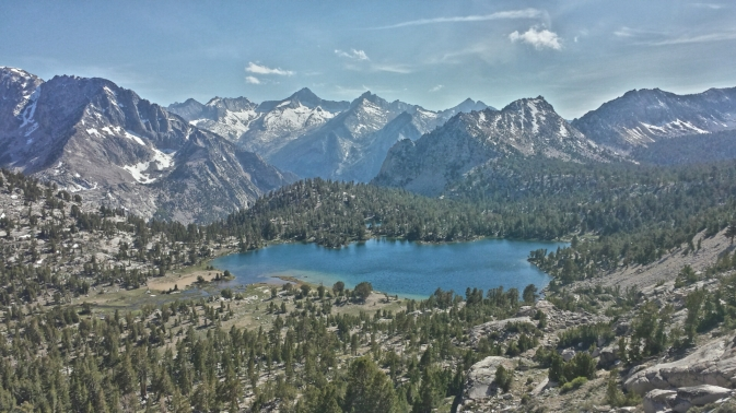 Bullfrog Lake of the High Sierra as seen from Kearsarge Pass.