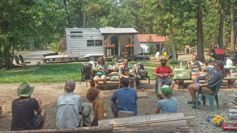 Hikers relax at 'Ed's Place.' Pictured: Rocket Lhama, The Bird, That Guy, Hot Pants, Sleeping Butte, Cinnamon Girl, Sideshow, Shuffle, others.