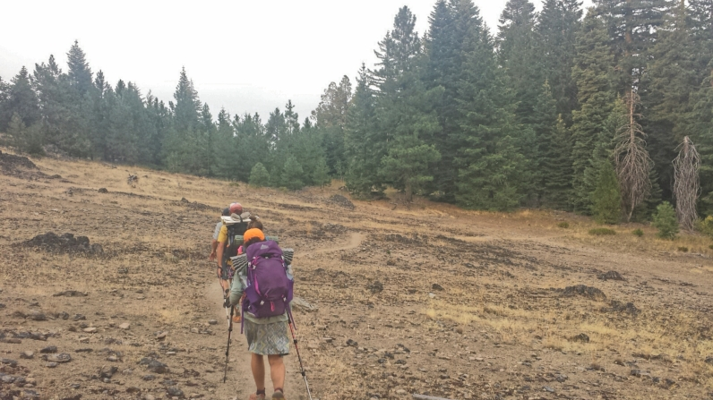 After crossing the Oregon Border by car due to fires, we begin hiking again near Ashland, OR, still in the smoke.
