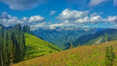 In the Glacier Peak Wilderness, the valleys are lush and dark, but the summits are blown open and filled with light. On a green shoulder of this mountain, an anonymous hiker has made camp.