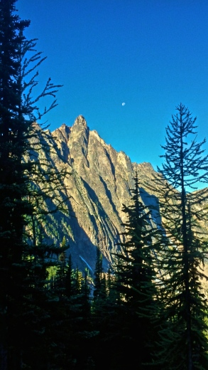 The moon was out and about on the second to last day of the trail. This was taken after Methow Pass.