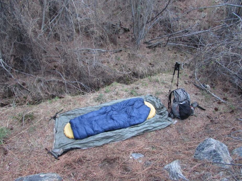 One tester cowboy camps  with his Enigma on the PCT