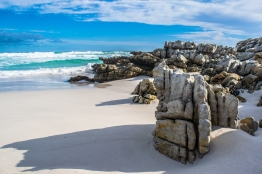 Awesome rock formations on a beach in Cape Point National Park, South Africa.