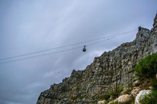 The Table Mountain Cable car almost at the summit.