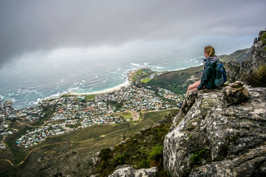 Seeking summits is medicine for the mind. Looking down on Camps Bay from the India Venster Route on Table Mountain.