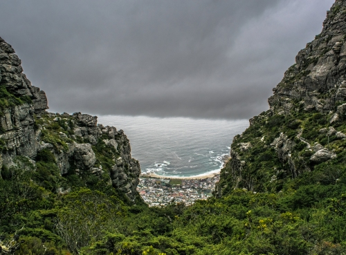 Looking down on Camps Bay from near the summit of Table Mountain.