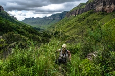 One of the steeper parts of the Tugela River Trail. This 'steep' sections were really not that steep at all, and would last a few hundred feet at hte most. For the majority of the trail, the hike is gently uphill.