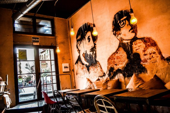 A funky cafe in the heart of Malasaña, Madrid.