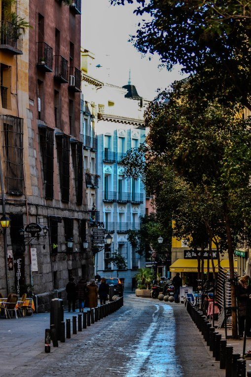 Here is a look at a street in the old town of Madrid.