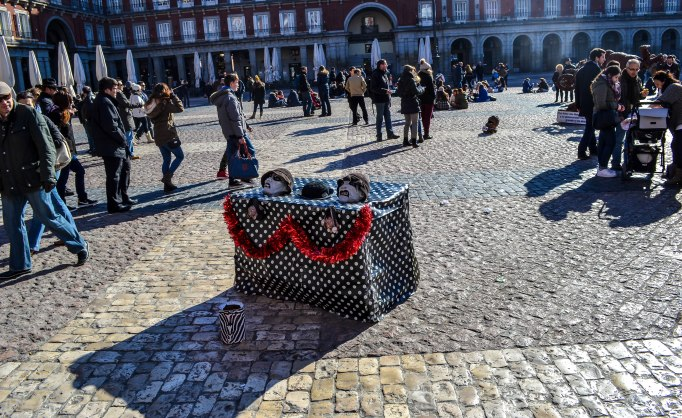 Street performers crowd the major plazas and squares in Madrid and some, such as these two, are just plain scary!
