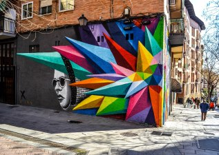 Some street art in the streets of Sol, Madrid. One of the more touristy parts of Madrid but still bustling with intricate streets and interesting murals.