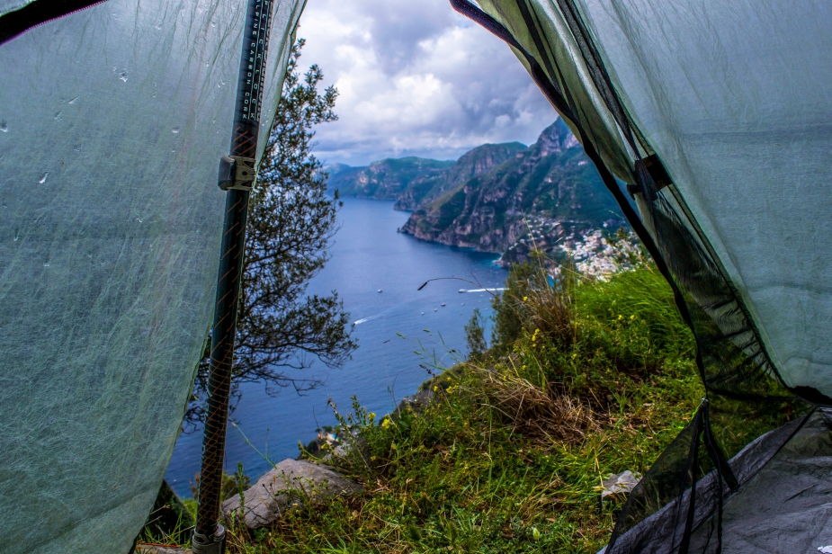 The view from our stealth camp on The Path of The Gods.