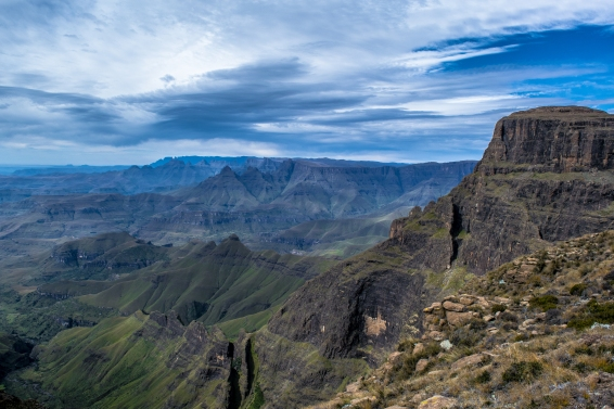 This shot was taking looking south along the Escarpment. Cathedral Peak can be seen in the foreground representing the central Berg. Cathkin Peak can also just be seen in the distance, a peak located in the Southern Berg. The entire Drakensberg in a photo.