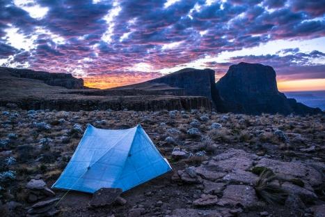 My tarp tent, my home. Drakensberg, Africa.