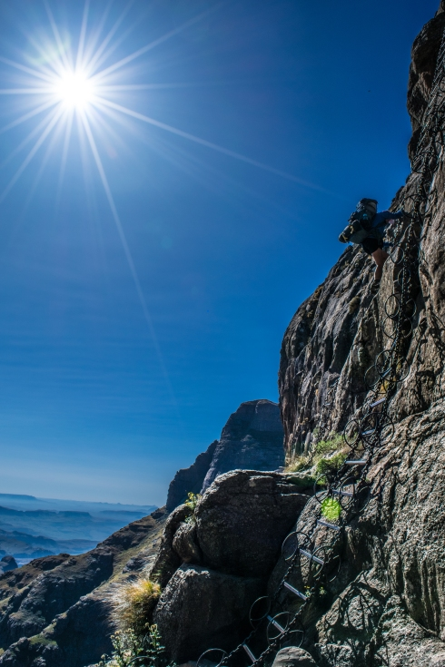 Climbing up the Chain Ladders is the best and fastest way to get onto the Drakensberg Amphitheater.