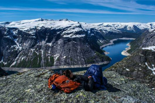 Legs lounges at this awesome spot to the right of the Trolltunga. Look at all that down!