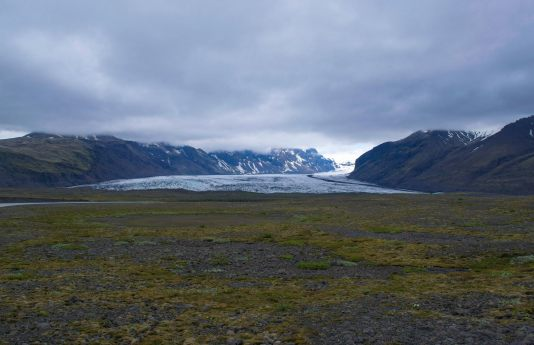 An arm of the largest glacier in Europe in the distance.