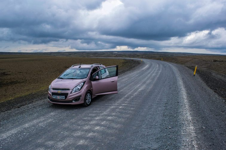 Our stupid, tiny, pink rental car on the Moon.