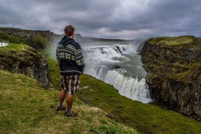 Icelandic wool is amazing, but expensive. Darwin checks out Gulfoss Waterfall in his new hoody. Thanks Legs!