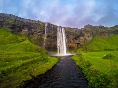 Seljalandsfoss Waterfall. To the left of these falls, but before Gljufrabui, there is a steep path leading up to the top of this plateau. It is worth the climb.