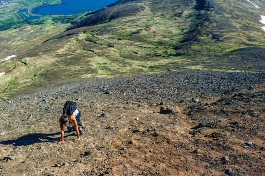 The final push up to Mt. Esja's summit. Legs had a hard time in the skree with her worn out running shoes.
