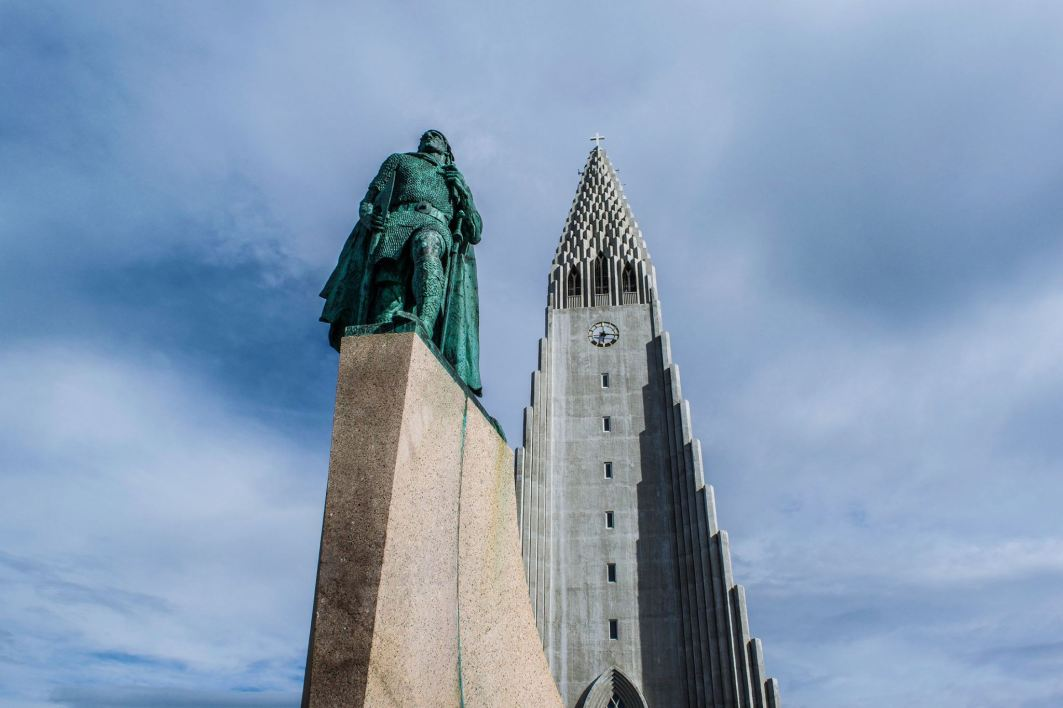 Leif Erikson and Hallgrimskirkja at the heart of Reykjavik.