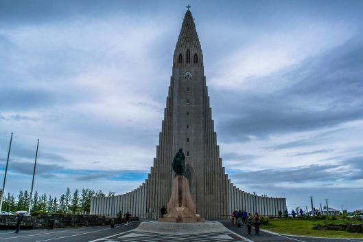 The tallest building in Iceland dominates the horizon as most other buildings are under three stories tall.