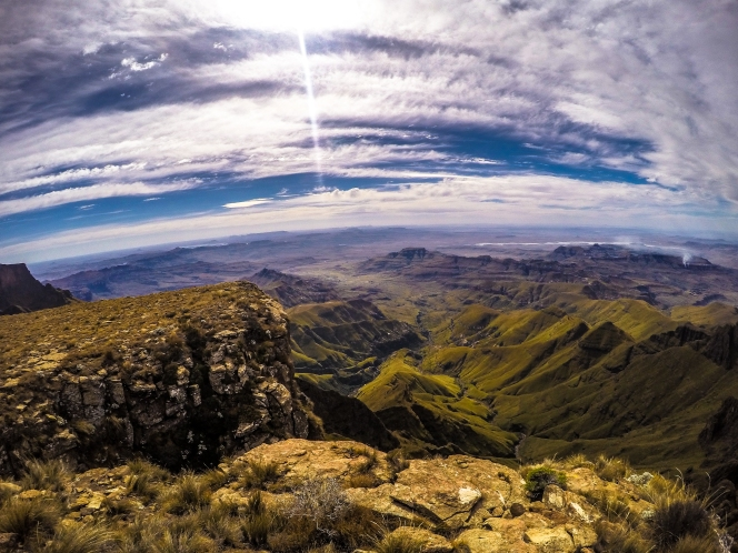 Sitting on top of the High Drakensberg looking out. I love having a Go Pro for these wide angle shots.